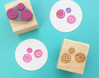 Tiny Buttons Rubber Stamp - Button Gift - Gift Button Lover - Button Craft - Button Stamper - Gift for Mom - Mothers Day Gift - Haberdashery