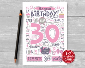 "Printable 30th Birthday Card - Doodled Thirty Birthday Card in Pink - 5""x7"" plus printable envelope template. Instant Download."