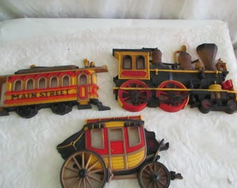 Homco Train, StageCoach, Main Street Trolley set of 3