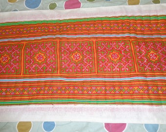 Vietnam Hmong Embroidered  -Tablecloth  White