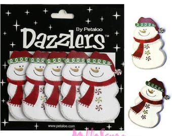 "Set of 5 snowman Christmas paper 3D ""dazzlers"" Petaloo scrapbooking.* embellishment"