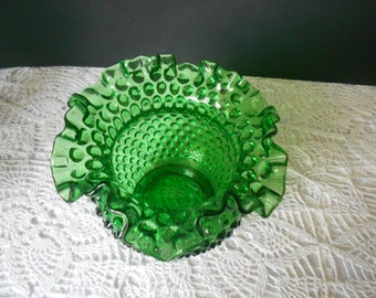 Vintage Fenton green glass vase hobnail, ruffled brim, emerald green collectable glass.