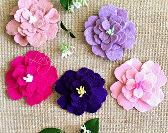 Felt Flowers -  Colorful Felt Flowers - Handmade - DIY - Fashion Floral Accessory - Craft Supplies - Felt Flower Brooch - Craft Flower