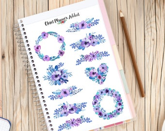 Purple and Blue Watercolour Flowers Planner Stickers | Floral Stickers | Watercolour Stickers | Floral Wreaths Stickers (S-268)