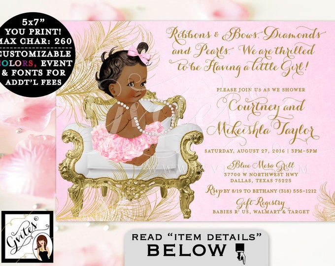 Pink and Gold Baby shower invitations, African American ribbons bows diamonds and pearls, vintage, girl tutu invite, digital, 5x7. Gvites
