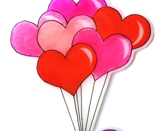 Balloon Heart Necklace - Valentine's - Six Heart Balloons - Red, Baby Pink, Bright Pink, Hot Pink & Lilac Bow - Love, Cute, Kitsch