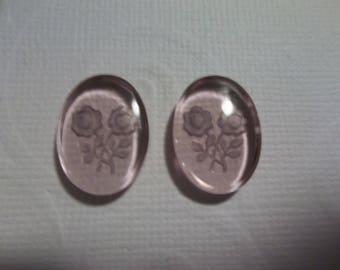 Glass Cameos - Light Amethyst Purple Two Roses Glass Cabochons - Reverse Carved Intaglio Cameos - 18 X 13mm  - Made in Germany - Qty 2