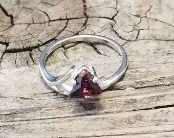 GARNET in STERLING SILVER ring