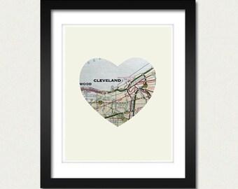 Cleveland Ohio City Heart Map - 8x10 Art Print