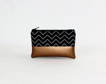 Mini bag - copper zigzag, bag, cosmetic bag, purse, make-up bag, vegan, minimalist, pouch, pencil case,.