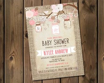 Burlap Rustic Baby Girl Shower Invitation, Mason Jar, Shabby Chic, Pink _53