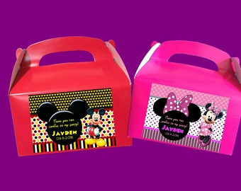 Personalized Mickey Mouse or Minnie Mouse Treat Boxes, Goodie Bags, Party Favors
