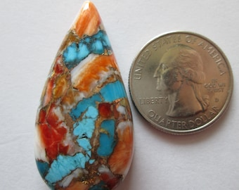80.00 ct Compressed Stabilized Kingman Turquoise, Spiny Oyster Gemstone # 1BH 006