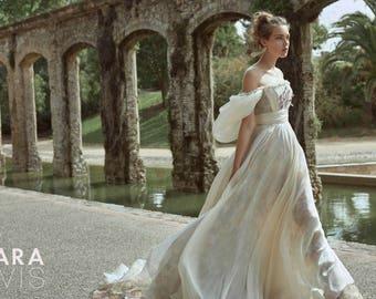 Amazing silk wedding dress HILORI by RARA AVIS • Wedding dress • Bridal gown • Royal slevees  • Wedding dress A-line • long train