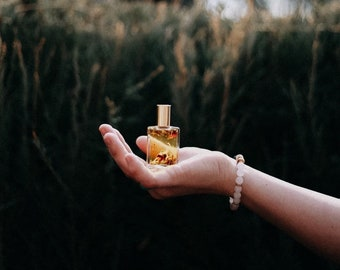 Floral 15ML Square Roller Bottle. Filled with dried Lavender, Rose, Calendula, Jasmine