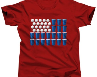 4th of July Shirt Men Beer Pong Shirt Drinking Games American Flag Shirt College Gift Drinking Shirt Party Shirt Drinking Tshirt Beer Tshirt