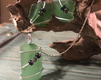 Unique 3 Piece Set - Green Beach Glass Earnings and Necklace Set