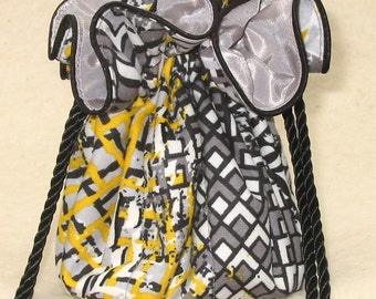 Abstract Cityscape Travel Jewelry Pouch, Travel Organizer,  Jewelry Bag, tote in grey and yellow