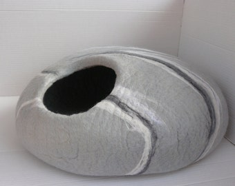 Cat Cave / Cat Den / Cocoon /Cat House / With blends of white, grey and black swirls  and GIFT