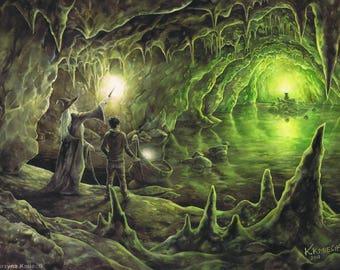 Horcrux Cave original painting - original fantasy illustration - HP book illustration - watercolor original art - watercolor illustration