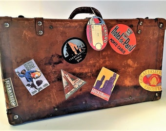 Wonderfully Beat Up Vintage Leather Suitcase With Repro. Stickers From The Golden Age of Travel