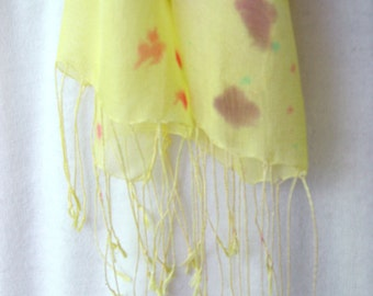 Hand Painted Silk Scarf Yellow Gauze light weight silk painted yellow with many spots of others looks great combined with others