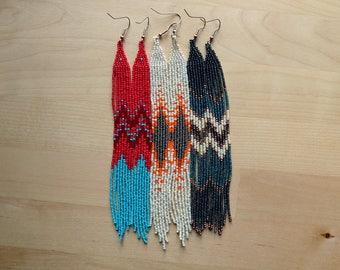 3 Leggy Ladies - Medium // Beadwork Earrings / Boho Dangle / Native American Beaded / Hand Woven / Shoulder Duster / Festival / Turquoise