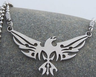 Phoenix - stainless steel pendant on ball chain mens or womens tribal art necklace.