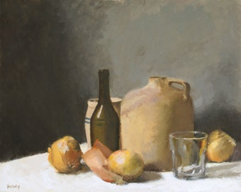 Still life with Jug, Glass, and Onions - original oil painting