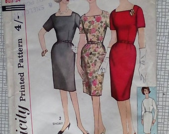 """1960s Dress - 34"""" Bust - Simplicity 4558 - Vintage Sewing Pattern"""