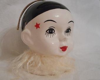 Vintage Pierrot Ceramic Hanging Perfume Pomander