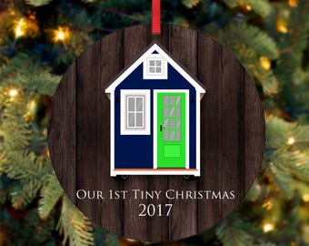 Our First Tiny Christmas Ornament, Blue Tiny House Ornament, Our First Christmas Ornament, 2017 Ornament, Custom Ornament (0022)