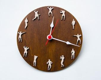 Sport Bodybuilder style clock Father's day gift for sportsmen, sport home decor , Bodybuilder wall decor