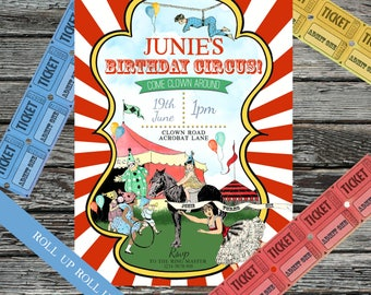 Personalised Vintage Circus Invite, Acrobats, Circus Birthday Party, Carnival Invitations, Tightrope, Seals, Polka Dots & Stripes, Tickets