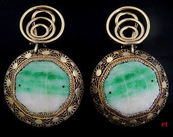 Vintage Chinese Carved Jade Silver & 14K Gold Dangle Clip Earrings