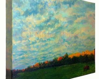 Autumn Sunset on Treetops at John Greenleaf Whittier Birthplace Acrylic Painting by Mark Reusch
