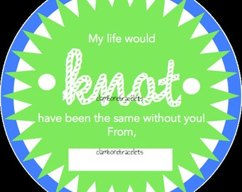"INSTANT DOWNLOAD - Friendship Bracelet Green and Blue Card Printable - ""My life would knot have been the same without you"""