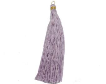 Purple Tassel - Large Gold Toned String Tassel Pendant - (S115B4-02)