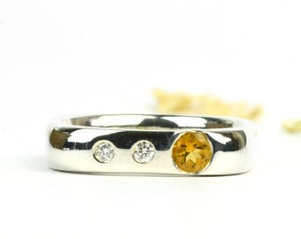 Citrine and diamond sterling silver ring, flush set citrine and diamond ring with unique square outer shank, November birthstone jewellery