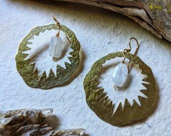 Hammered moonstone, tourmaline, or rose quartz earrings