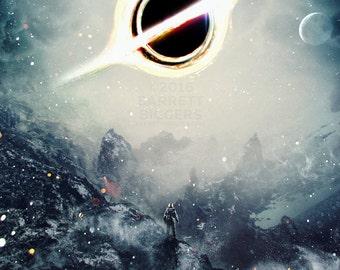 Interstellar inspired fictional teaser black hole planet movie poster art design premium quality archival giclée fine art print