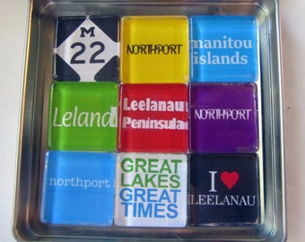 NORTHPORT, Leland, Leelanau, Michigan, M22, Manitou Islands, Up North Michigan, Magnets Set, Northwest Michigan Souvenir