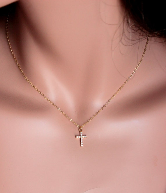 Cross necklace women small gold filled crystal crosses pendant aloadofball