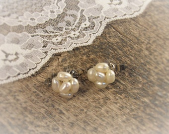 Vintage Pearl Earrings Dainty Fresh Water Pearl Cluster Clip Ons Bridal Wedding Bride Bridesmaids Gifts for Her