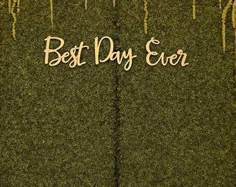 "Wedding Ceremony Sign, Hanging ""Best Day Ever"" Sign for Above Altar Arch or Hanging on Floral Reception Wedding Decor Sign (Item - BDH200)"
