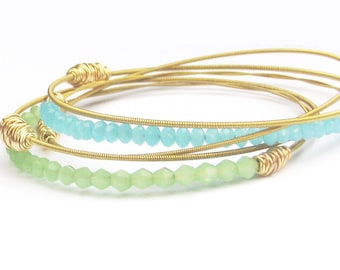 Bangle Bracelet Stack // Set of 5 Bracelets // Gold, Mint Green, Aqua Blue Swarovski Crystals // Eco-Friendly Jewelry // Bridesmaid Gift