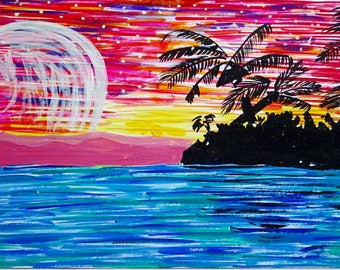 Moon island, Ocean painting, Beach painting, Astral vision painting, Acrylic painting, original painting