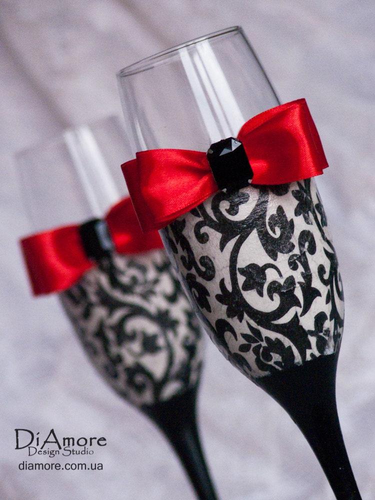 Personalized Wedding Glasses Damask Wedding Glasses Black