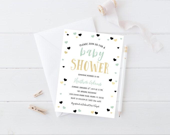 Heart Confetti Baby Shower Invitation, Mint Black Gold Foil Baby Girl Shower Invite, Gender Neutral Modern Hip Printed or Printable Invite