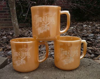Set of Three (3) Tom and Jerry Cups, Peach Lusterware, Fire King